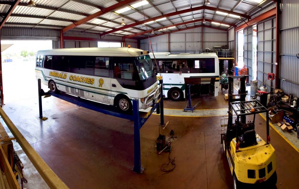 emerald coach bus getting serviced